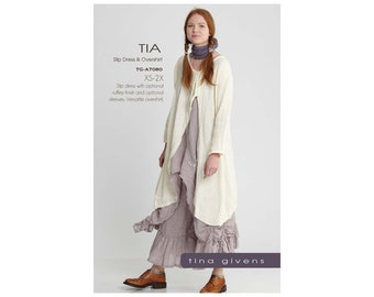 Tina Givens Tia Slip Dress and Overlay Overshirt sizes XS-2X Sewing Pattern # 7080