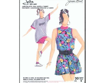 Jalie Culotte Pantskirt, Sleeveless Sweater & T-Shirt Sewing Pattern # 925 in 30 Sizes for Women, Girls, Toddler and Baby