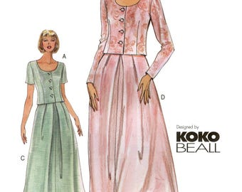 Vogue 7169 Koko Beall Semi-fit Top & Slightly Flared Skirt in Above Ankle or Evening Length - Easy Sewing Pattern