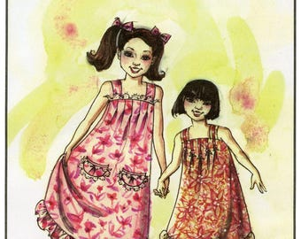 Girls' Pullover Muumuu, Sun Dress or Apron sizes 1-7 Victoria Jones Collection Sewing Pattern # 106
