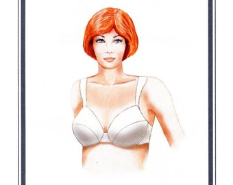 Full Coverage Underwire Bra w/Back Closure sizes 32A-40DD Elan Sewing Pattern # 530
