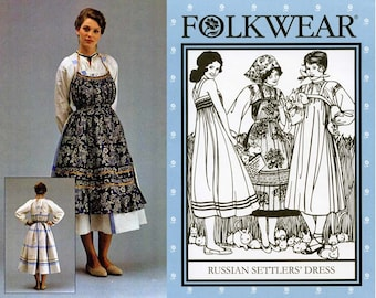 Folkwear Russian Settlers' Dress ( Jumper, Blouse & Apron) Sizes S-M-L Sewing Pattern # 128