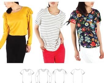 Jalie 3890 Mimosa Scoopneck T-Shirts Sewing Pattern in 3 Styles, 28 Sizes Women & Girls