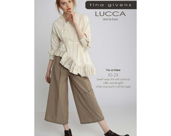 Tina Givens Lucca Asymmetrical Shirt Jacket & Wide Crop Pant sizes XS-2X Sewing Pattern # TG-A7084