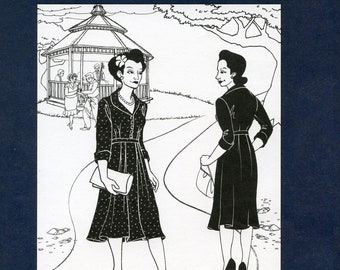 Folkwear Late 1940s Lindy Shirtdress w/Shawl Collar, Shoulder & Waist Pleats and Darts sizes XS-3XL Sewing Pattern # 247