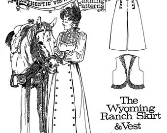 Ladies' Wyoming Ranch Skirt & Vest sizes XS-3XL - Buckaroo Bobbins Sewing Pattern - Cowgirl, Riding, Western Split Skirt