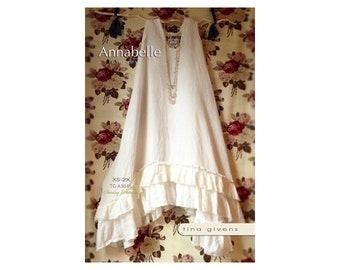 Tina Givens Annabelle Slip Dress w/Ruffled Hem sizes XS-2X Sewing Pattern # 3046