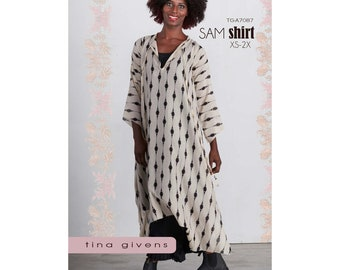 Tina Givens Sam Shirt sizes XS-2X Sewing Pattern #TG-A7087 Long Shirt with Optional Sleeve Ruffle & Pockets