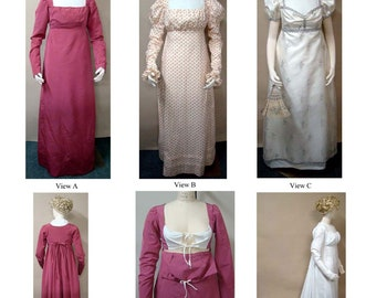 Ladies' Round and Trained Gown with High Stomacher Front 1800-1810 size 6-34 Laughing Moon Sewing Pattern # 126