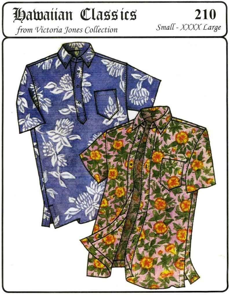 Men's Vintage Reproduction Sewing Patterns     Mens Classic Hawaiian Businessmans Aloha Shirt S-4XL - Victoria Jones Sewing Pattern # 210 $13.95 AT vintagedancer.com