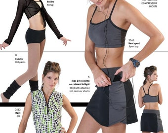 Jalie Multi-sport Skort, Hot Pants and Compression Shorts Sewing Pattern #2796 in 27 Sizes Misses & Girls