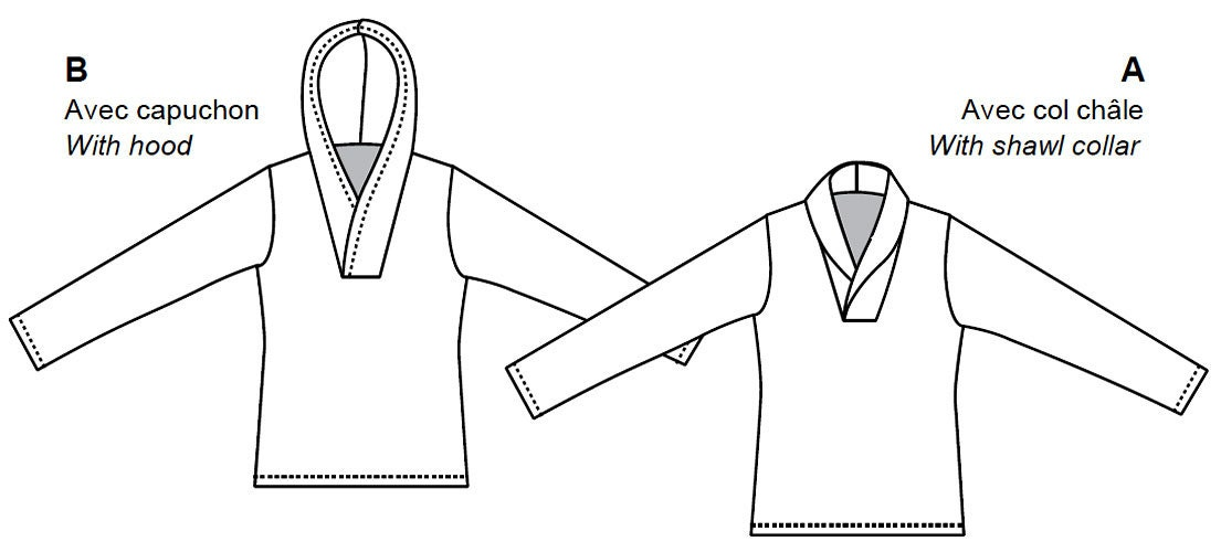 Jalie Long-Sleeved Pullovers w/Shawl Collar or Hood Sewing Pattern ...