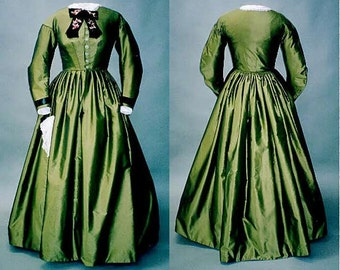Ladies' Early 1860's Civil War Day Dress sizes 6-26 - Laughing Moon Sewing Pattern # 111
