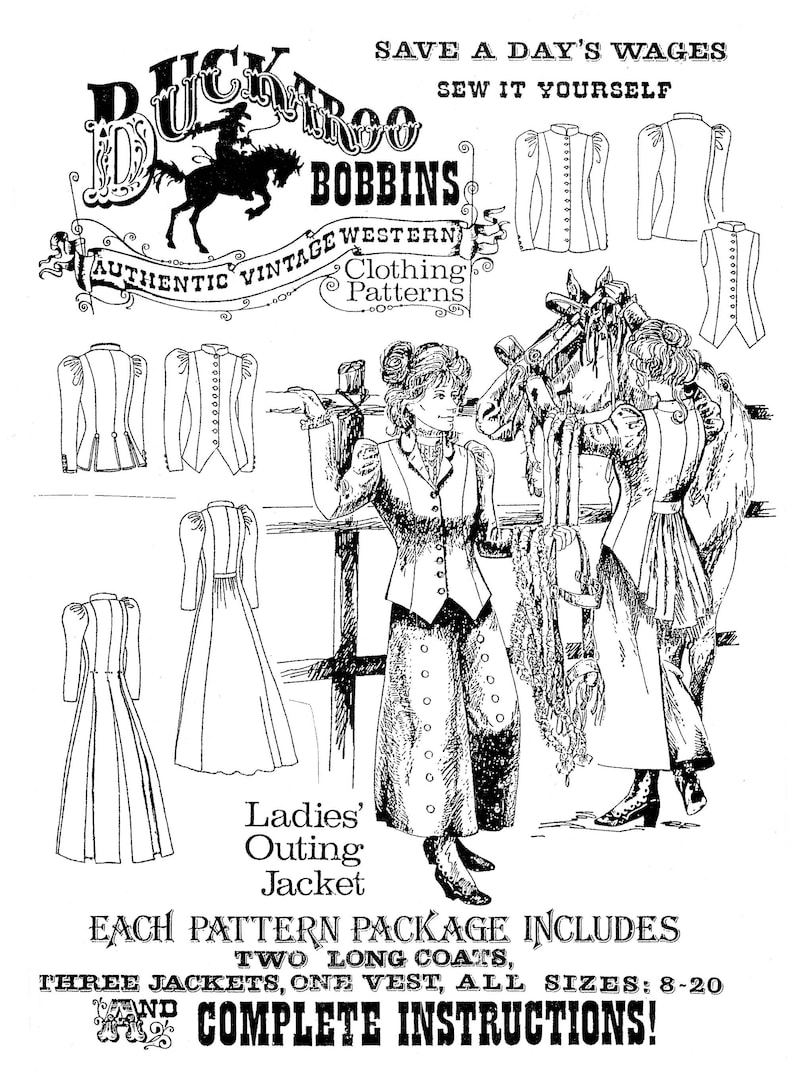 Vintage Western Wear Clothing, Outfit Ideas     Buckaroo Bobbins Ladies 1880s - 1890s Outing Jacket Sewing Pattern - 2 Long Coats 3 Jackets & 1 Vest sizes 6-20 $18.95 AT vintagedancer.com