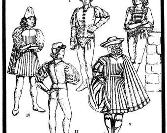Men's Italian Renaissance Garments Costume circa 1420-1500 sizes 36-48 - Period Patterns Sewing Pattern #43