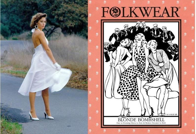 6ef00af8 Folkwear Blonde Bombshell Halter Dress Sewing Pattern 239 & | Etsy