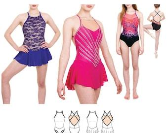 Jalie 3673 Violeta Open-Back V-Waist Leotard & Dress w/Circle Skirt Sewing Pattern Women and Girls sizes