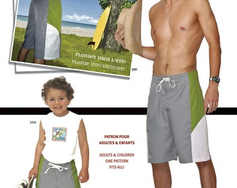 Jalie Board Shorts Sewing Pattern # 2678 in 27 Sizes for Men & Boys