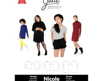 Jalie Nicole Shift Dress, Tunic & Tee Sewing Pattern 3903 Women's XS-2XL and Girls' 2-13