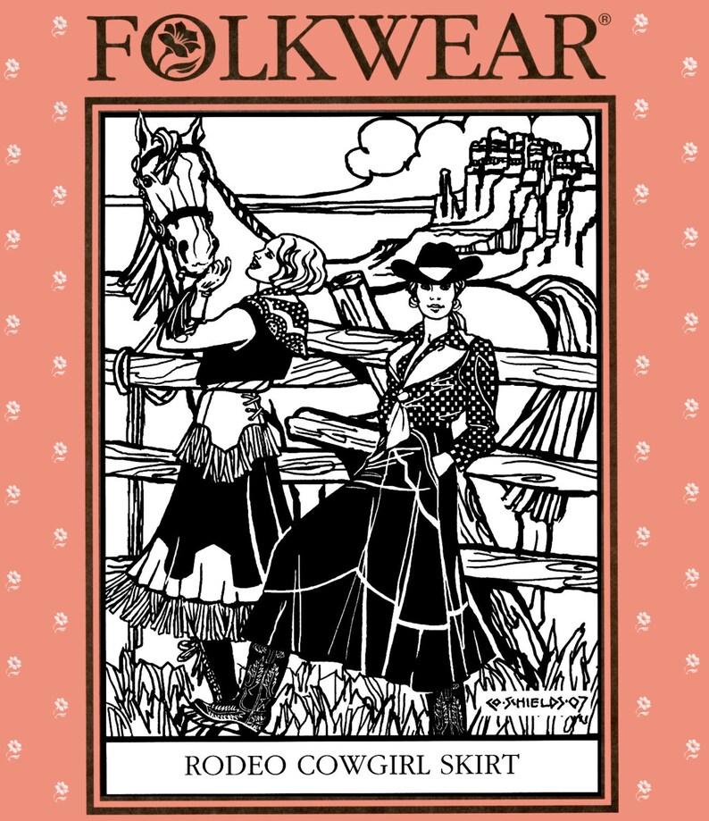 Vintage Western Wear Clothing, Outfit Ideas     Folkwear Western Rodeo Cowgirl Skirt w/Hip Yoke Sewing Pattern #243 Sizes XS-2XL $19.95 AT vintagedancer.com
