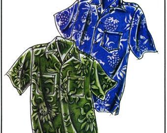 Men's Loose-fit, Casual Hawaiian Aloha Shirt size S-4XL Victoria Jones Sewing Pattern #220