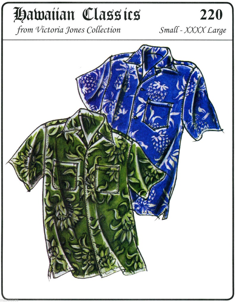 Men's Vintage Reproduction Sewing Patterns     Mens Loose-fit Casual Hawaiian Aloha Shirt size S-4XL Victoria Jones Sewing Pattern #220 $13.95 AT vintagedancer.com