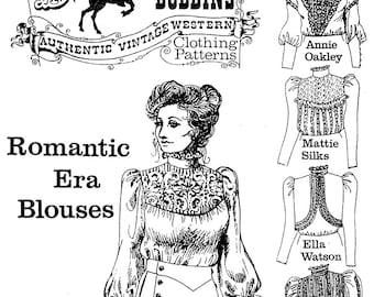 Ladies' Romantic Era Blouses sizes 6-24 Victorian / Western 5 Styles - Buckaroo Bobbins Sewing Pattern