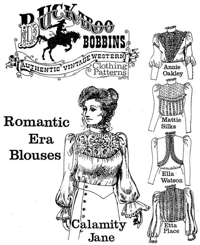 Edwardian Sewing Patterns- Dresses, Skirts, Blouses, Costumes Ladies Romantic Era Blouses sizes 6-24 Victorian / Western 5 Styles - Buckaroo Bobbins Sewing Pattern $16.95 AT vintagedancer.com