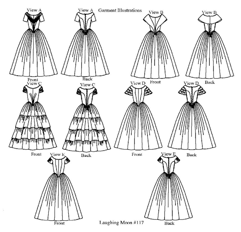 Ladies\' Ball Gown 1840-1863 Sizes 6-34 Laughing Moon Sewing Pattern ...