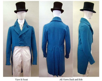 Men's Empire & Regency Tailcoat sizes 34-56 - Laughing Moon Sewing Pattern 122