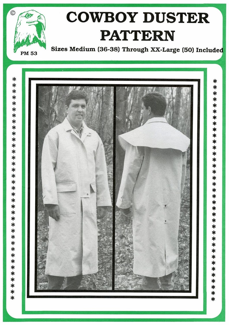 Men's Vintage Reproduction Sewing Patterns     Cowboy Duster - Old West Coat - Mens Sizes M-XXL Eagles View Sewing Pattern # 53 $10.95 AT vintagedancer.com