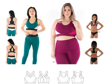 Jalie 4014 Coco Sport Bras Sewing Pattern in 28 Sizes for Women & Girls - Crossover Back and Racer Back