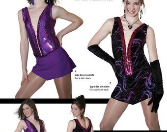 Jalie Figure Skating Dress with Deep-V Front Illusion, Attached Panties Sewing Pattern # 2675 in 22 Sizes Women & Girls