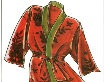 Loose-fit Wrap Happi Coat XS-2X  and Hanten S-4X Victoria Jones Sewing Pattern # 230 Great for Robe Too!