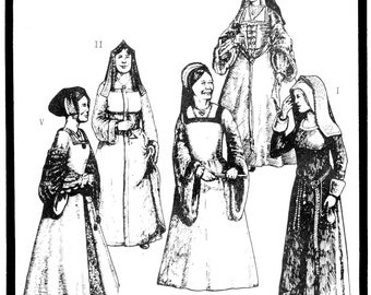 Period Patterns Early Tudor Women's Gowns circa 1490-1535 size 6-20 Sewing Pattern # 51