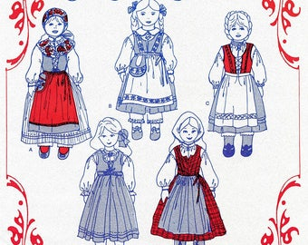 """Nordic Style Clothing for 14"""" & 18"""" Dolls - Olde Country Costumes Sewing Pattern # 931 Swedish, Norwegian"""