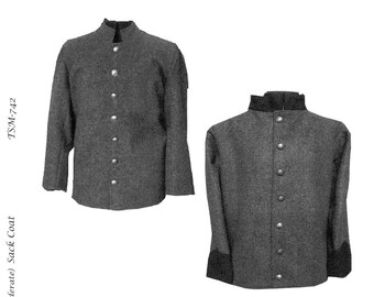 Men's Civil War Confederate Regimental Sack Coat chest sizes 34-58 - Timeless Stitches Sewing Pattern # TSM-742 Historic Reenactment Jacket