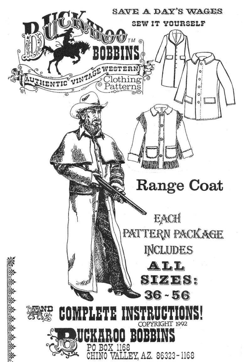 Men's Vintage Reproduction Sewing Patterns     Buckaroo Bobbins Range Coat Duster & Barn Coat Sewing Pattern sizes 36-56 Civil War Western Cowboy $17.95 AT vintagedancer.com