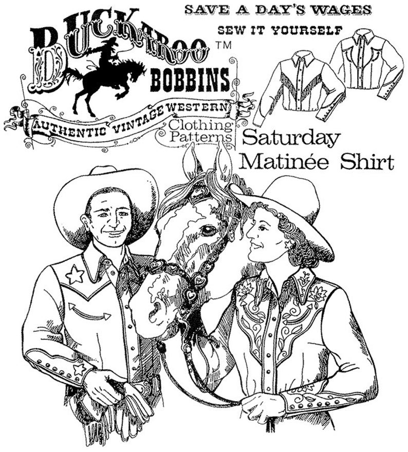Vintage Western Wear Clothing, Outfit Ideas     Saturday Matinee Cowboy Cowgirl Western Shirt - Buckaroo Bobbins Sewing Pattern Men & Women size XS-6X $15.95 AT vintagedancer.com