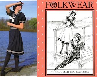 Folkwear Vintage Bathing Costume, Skirt & Cap Sewing Pattern #253 Sizes 6-20 1890s Style