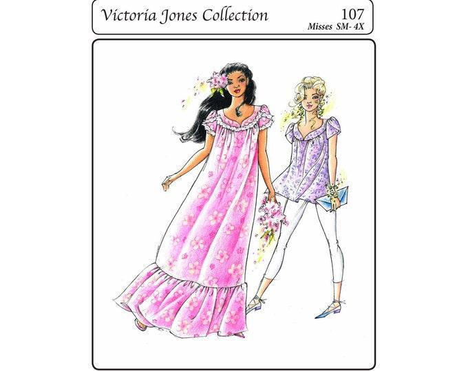 Featured listing image: Pullover Petal Sleeve Muumuu & Tunic Top sizes S-4XL Victoria Jones Sewing Pattern # 107