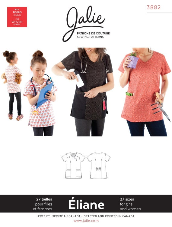Jalie 3882 Eliane Mock Wrap Neck Scrub Top Sewing Pattern in   Etsy