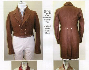 Mens Regency Tailcoat with Slip Vest & Vest sizes 34-56 Laughing Moon Sewing Patterns 121/123 Historic Costume
