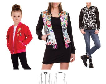 Jalie 3675 Charlie Bomber Jacket in Stable or Stretch Knits Sewing Pattern for Women & Girls