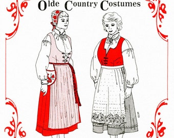 Women's Nordic Style Olde Country Costumes Jumper, Blouse, Apron and Waist-Bag sizes 18W-28W Sewing Pattern # 879