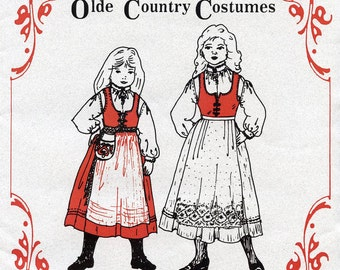 Girls Nordic Style Jumper, Blouse, Apron & Waist-Bag sizes 2-6 Olde Country Costumes Sewing Pattern # 877