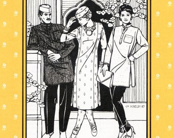 Folkwear Jewels of India Kurta Shirt, Kamiz Tunic, Churidar Pants & Gandhi Hat Sewing Pattern # 135 for Men and Women