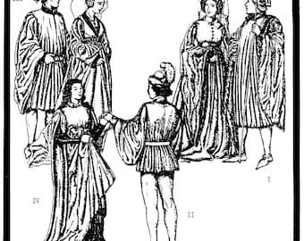 Men's & Women's Houpelandes Costume circa 1390-1460 Period Patterns Sewing Pattern # 26 Medieval-Renaissance