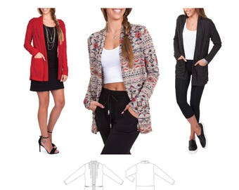 Jalie 3677 Helene Open Front Shawl Collar Cardigan Sewing Pattern for Women & Girls
