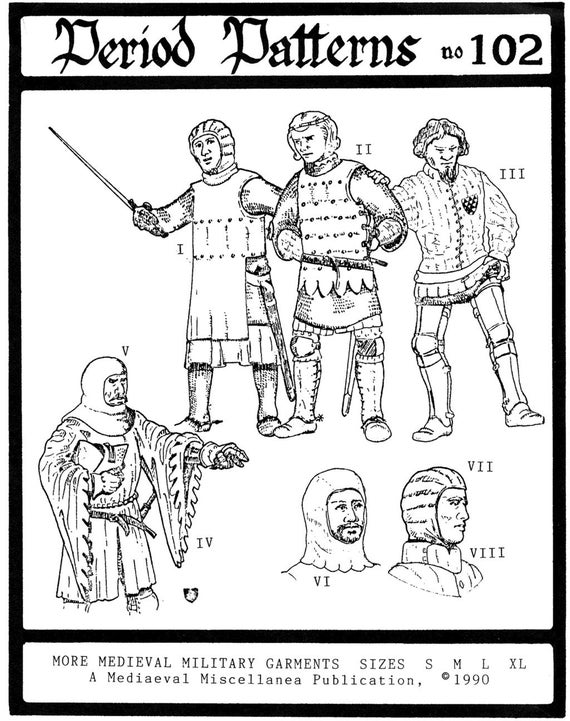 Medieval Military Garments size S-XL  Period Patterns Sewing Pattern # 101 SCA